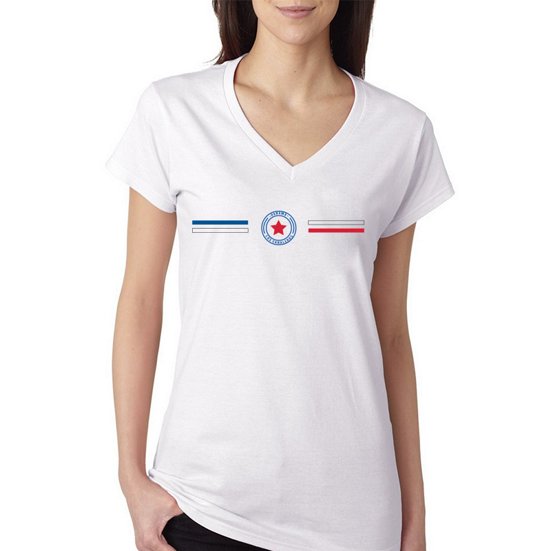 Panama Women's V Neck Tee T Shirt Jersey  Shield  Available colors, heather gray, white and other colors as you request.