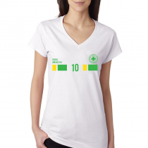 Brasil Women's V Neck Tee T Shirt Jersey 10 Shield