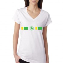 Brasil Women's V Neck Tee T Shirt Jersey Shield