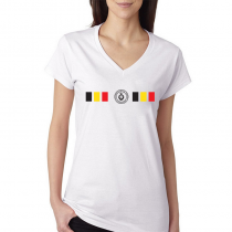 Belgium Women's V Neck Tee T Shirt Jersey Shield