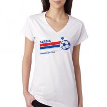 Serbia Women's V Neck Tee T Shirt  Jersey  The national team ball