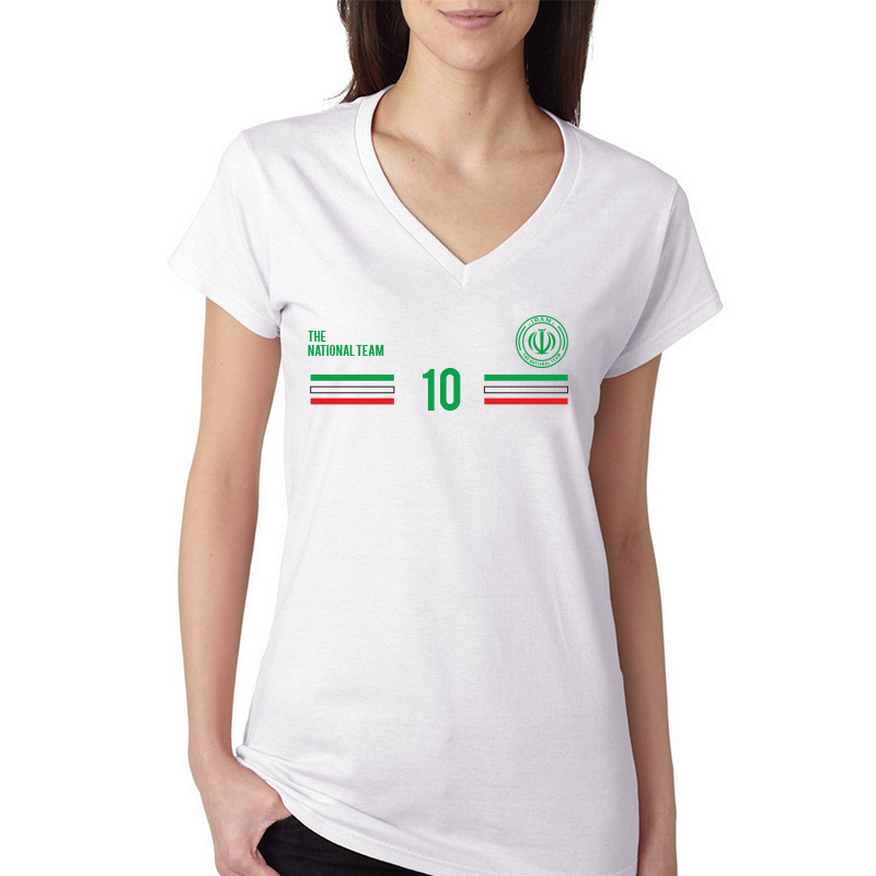Iran Women's V Neck Tee T Shirt Jersey 10 Shield