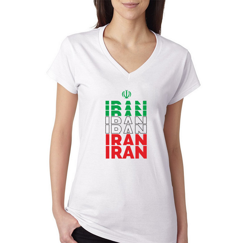 Iran Women's V Neck Tee T Shirt Jersey Iran letters  Available colors, heather gray, white and other colors as you request.