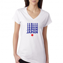 Japan Women's V Neck Tee T Shirt Jersey  Japan letters
