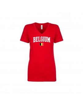 Belgium World Cup Women's V Neck  T-Shirt