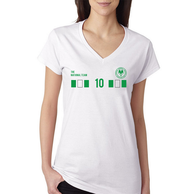 Nigeria  Women's V Neck Tee T Shirt Jersey  10 Shield  Available colors, heather gray, white and other colors as you request.