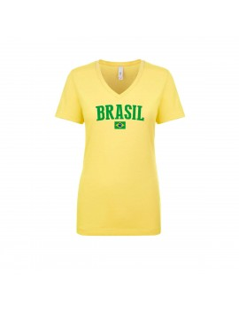 Brasil World Cup Women's V Neck  T-Shirt