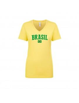 Brasil World Cup Women's V Neck  T-Shirt