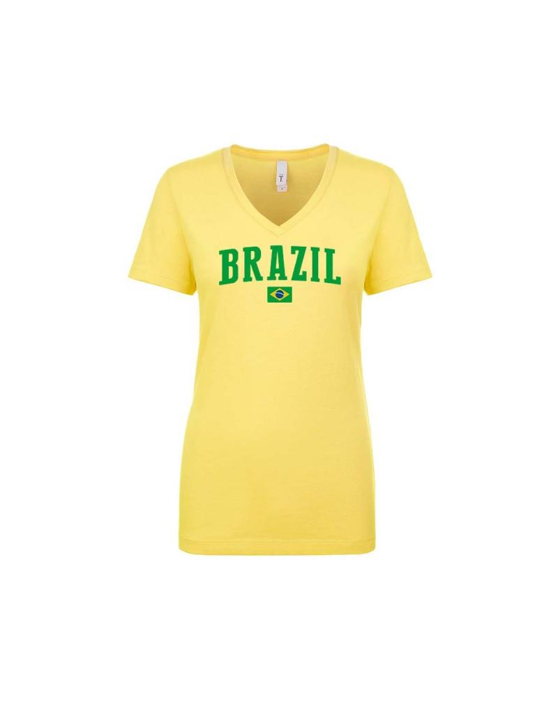 Brazil World Cup Women's V Neck  T-Shirt