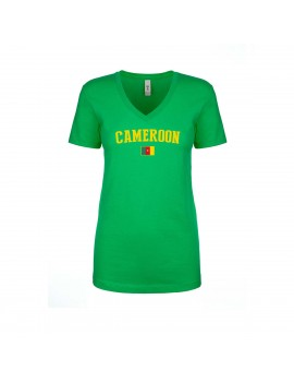 Cameroon World Cup Women's V Neck  T-Shirt