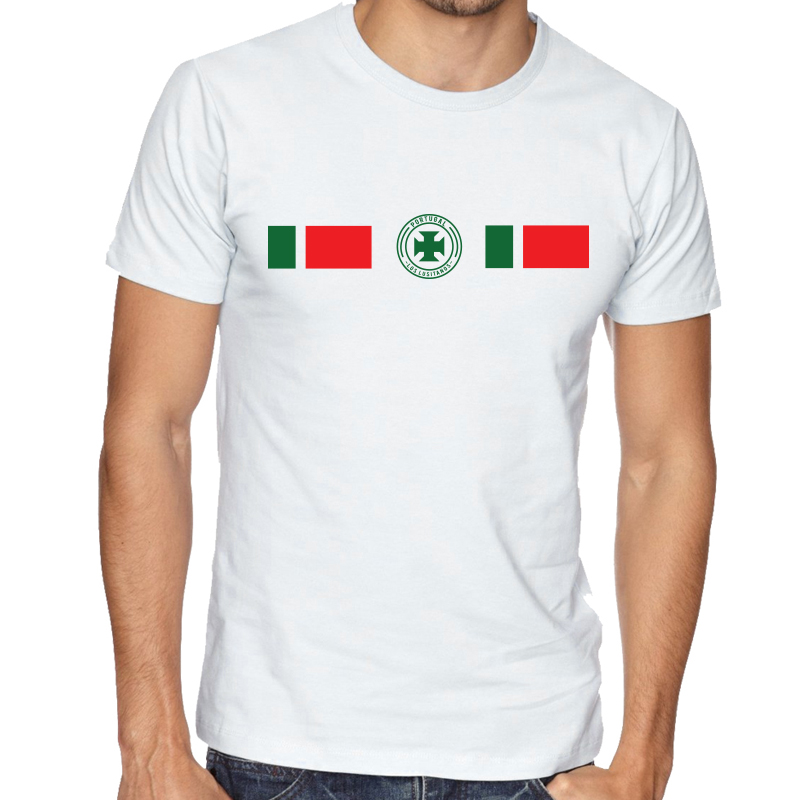 Portugal Men's Round Neck  T Shirt Jersey  Shield  Available colors, heather gray, white and other colors as you request.
