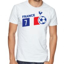 France  Men's Round Neck  T Shirt Jersey  7 ball