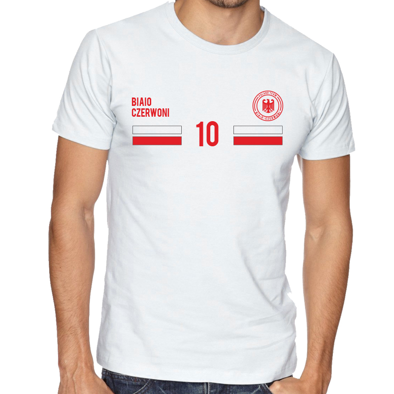 Poland Men's Round Neck  T Shirt Jersey   10 Shield