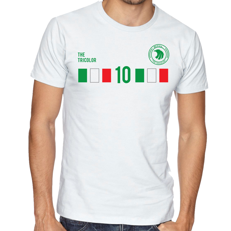 Mexico Men's Round Neck  T Shirt Jersey  10 shield  Available colors, heather gray, white and other colors as you request.