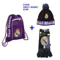 RM Purple Cinch + Black/Purple Pom Beanie + Black/Blue Scarf