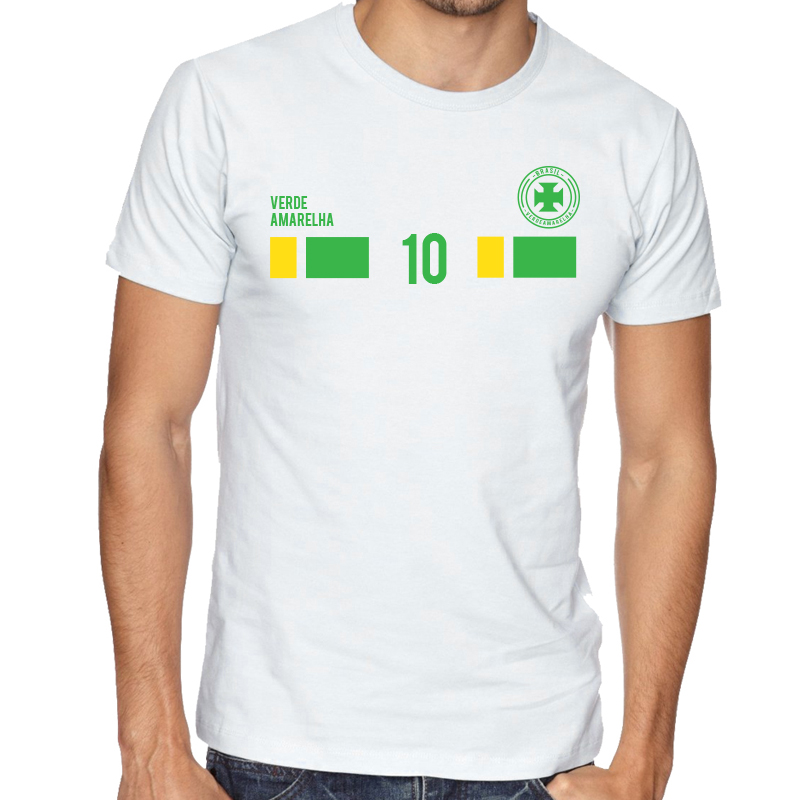 Brasil Men's Round Neck  T Shirt Jersey   10 shield  Available colors, heather gray, white and other colors as you request.