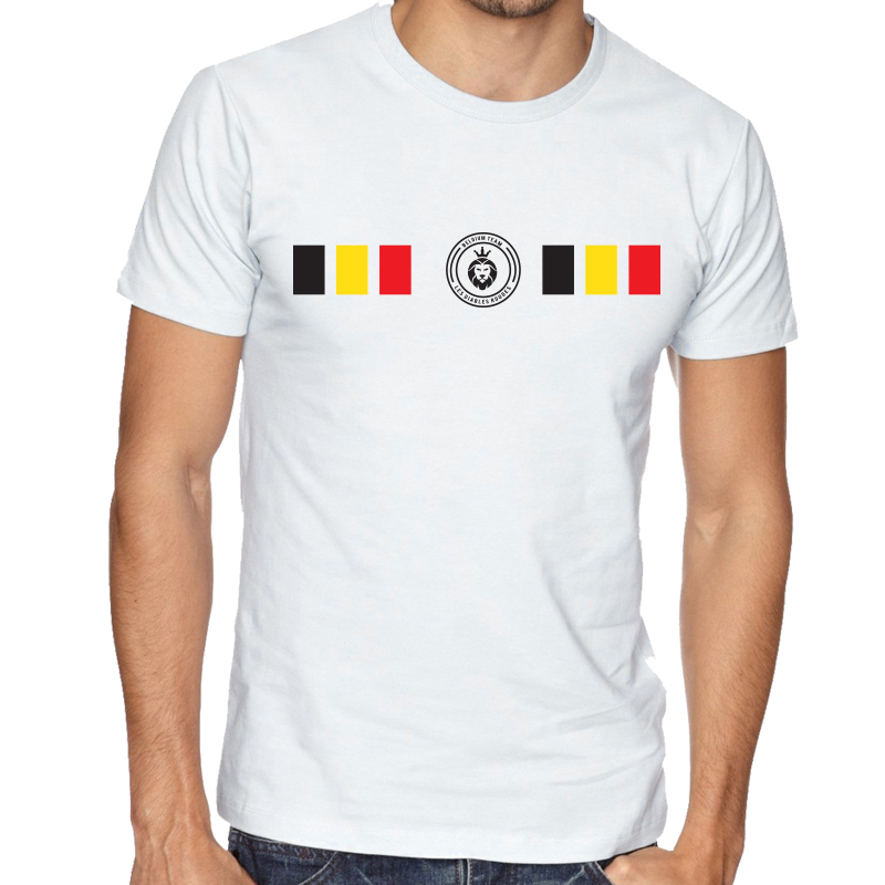 Belgium  Men's Round Neck  T Shirt Jersey  Shield