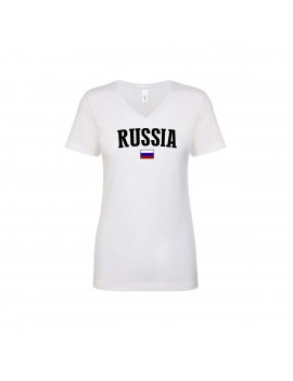 Rusia World Cup Women's V Neck T-Shirt