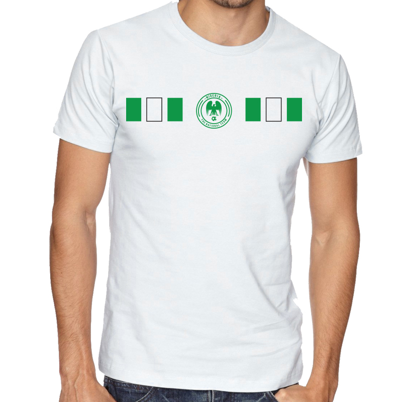 Nigeria Men's Round Neck  T Shirt Jersey  Shield Available colors, heather gray, white and other colors as you request.