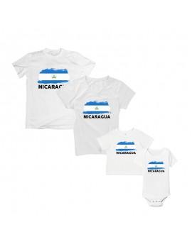 Nicaragua National Pride Country Flag T-Shirt Matching Set