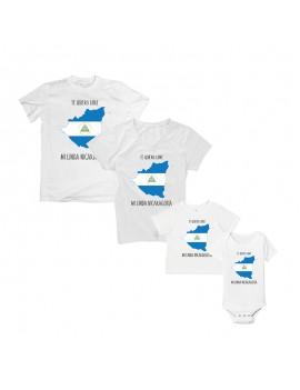 Te Quiero Libre Mi Linda Nicaragua National Pride T-Shirt Matching Set