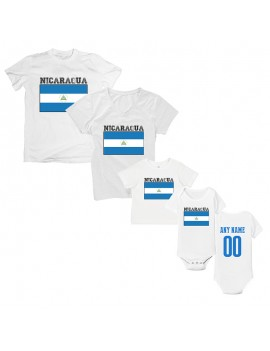 Nicaragua Country Flag T-Shirt Matching Set Personalized