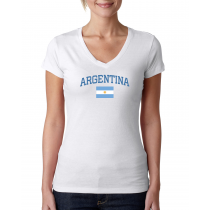 Women's V Neck Tee T Shirt  Country Argentina