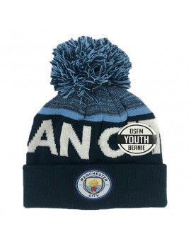 Manchester City Youth Beanie Hat Denim Blue Authentic Official