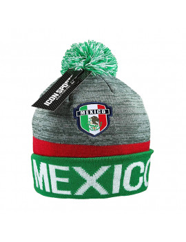 Mexico Adult's Gray Beanie Hat Pom Authentic Official