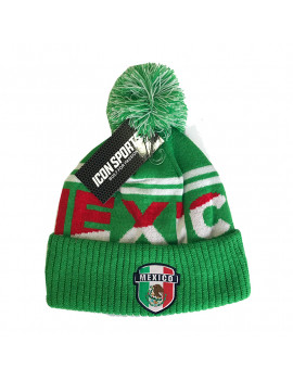 Mexico Mint Green Adult's Pom Beanie Hat - Front