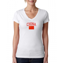 Women's V Neck Tee T Shirt  Country  China