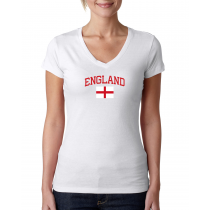 Women's V Neck Tee T Shirt  Country  England