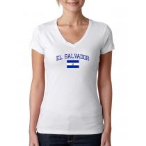 Women's V Neck Tee T Shirt  Country  El Salvador