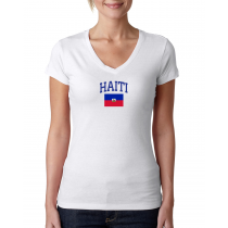 Women's V Neck Tee T Shirt  Country   Haiti